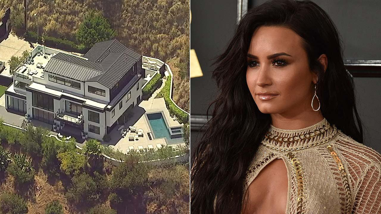 (Left) An aerial view shows a Hollywood Hills home belonging to singer Demi Lovato. (Right) Demi Lovato at the Grammy Awards at Staples Center, Feb. 12, 2017, in L.A. (AP Photo)