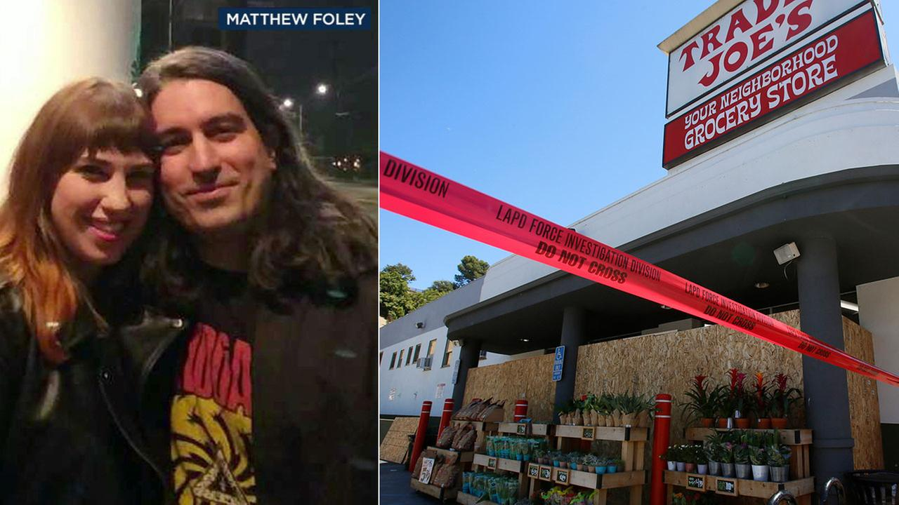Matthew Foley and his girlfriend Chloe Acerol are shown in an undated photo alongside an image of the Silver Lake Trader Joes.