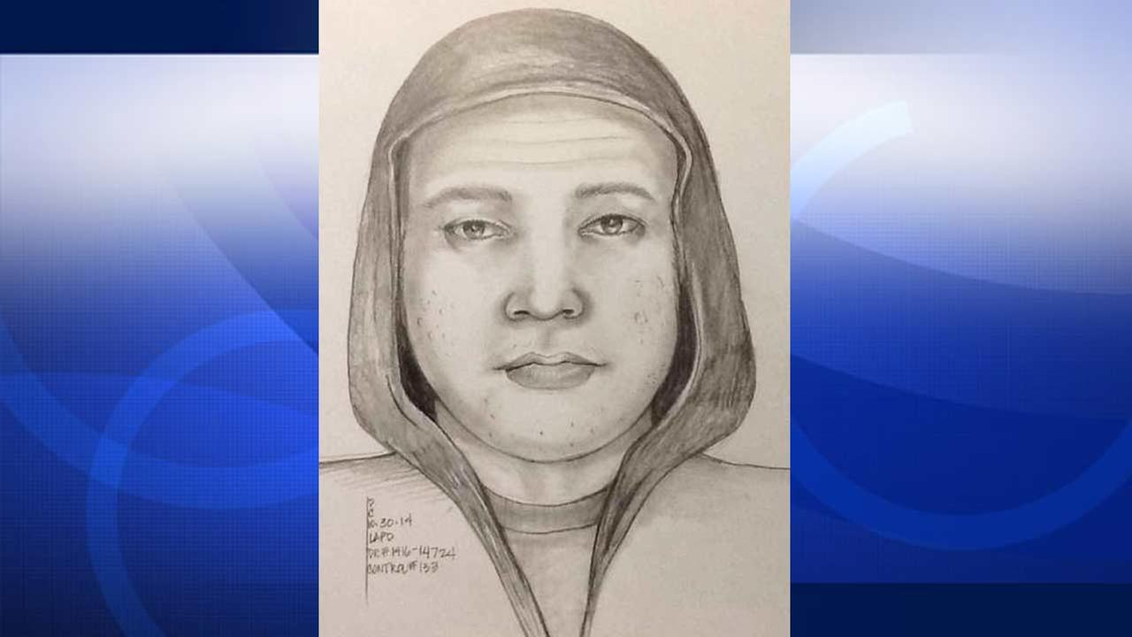 A sketch from Los Angeles police shows the suspect wanted for allegedly exposing himself to two children in Pacoima in October 2014.