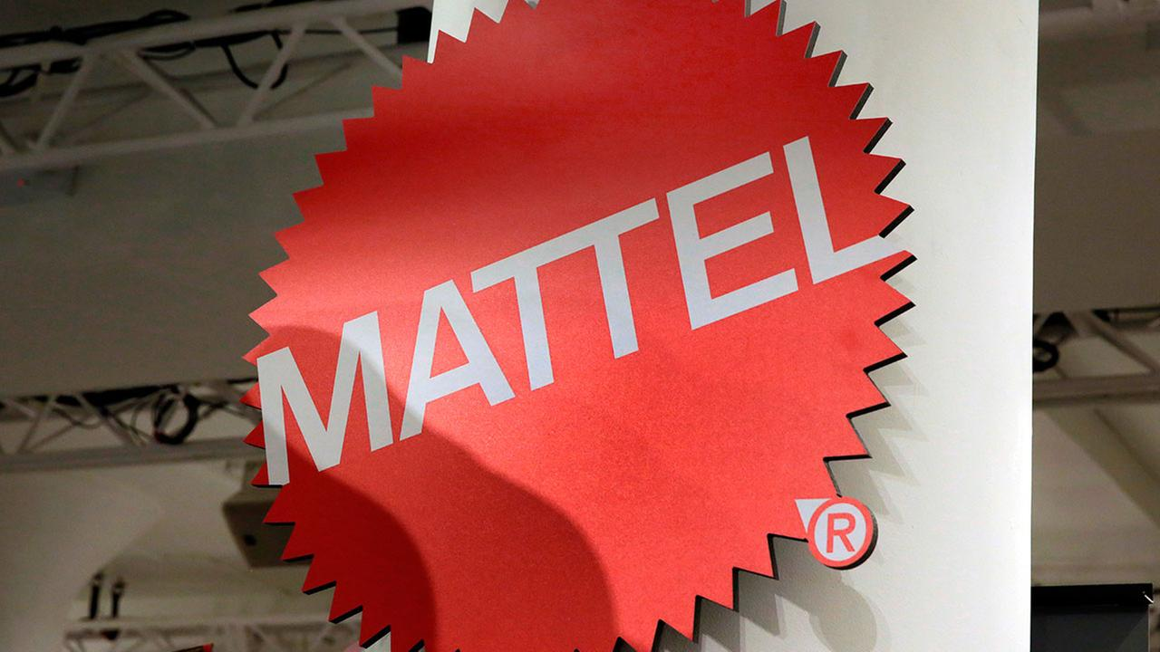 The Mattel logo is shown at the TTPM 2018 Spring Showcase, in New York, Thursday, April 26, 2018.