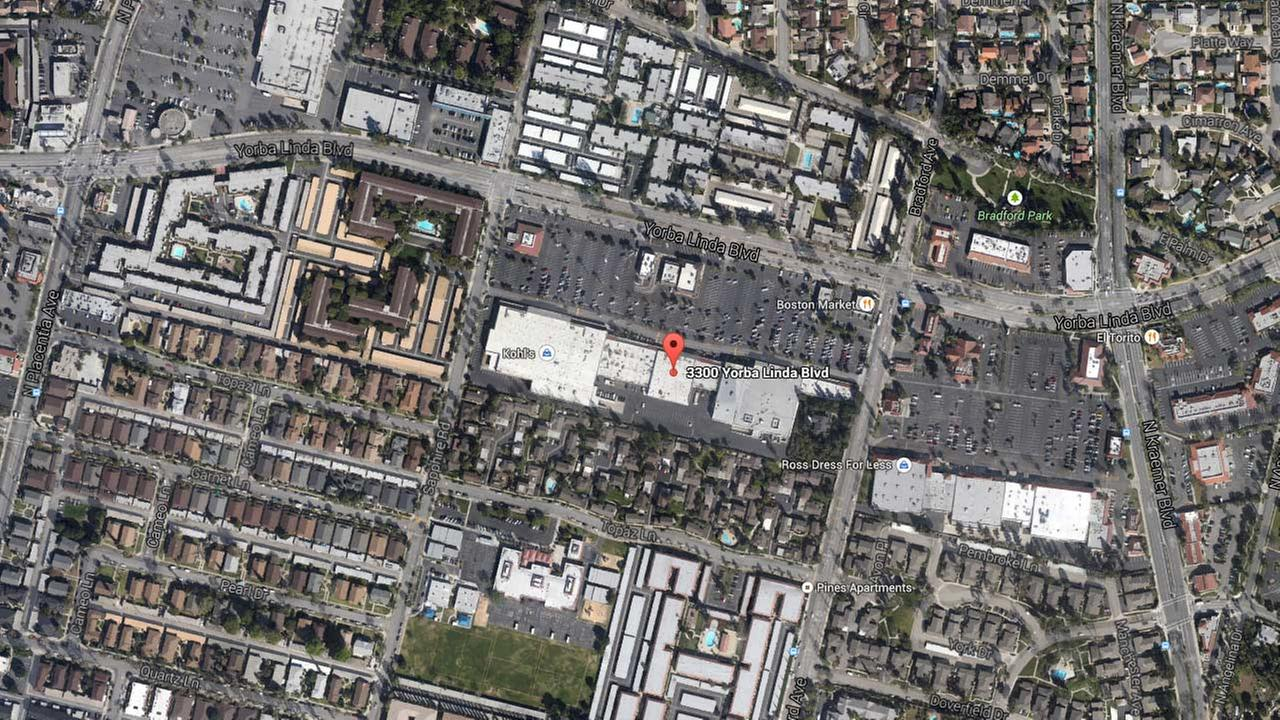 A map shows the 3300 block of Yorba Linda Boulevard in Fullerton, where a Chase Bank was closed Wednesday, Nov. 5, 2014.