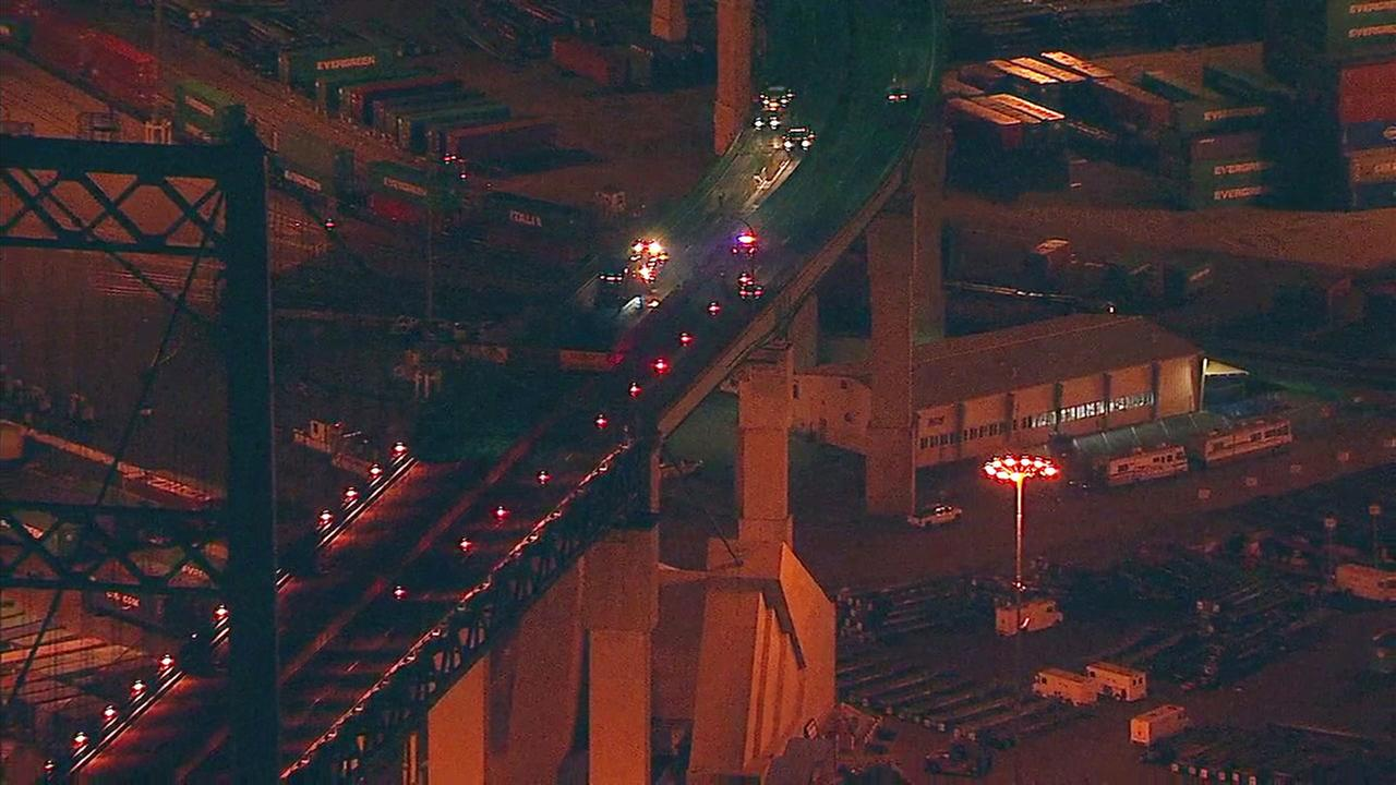 AIR7 HD over a big rig crash on the Vincent Thomas Bridge in San Pedro on Tuesday, July 31, 2018.