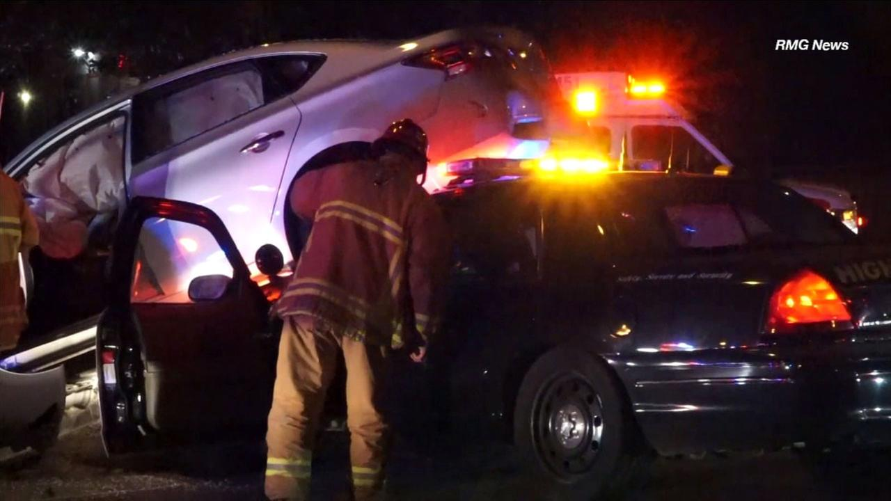 A wild chase in Ventura Tuesday morning ended with a police cruiser wedged under a car and the suspected driver in custody.