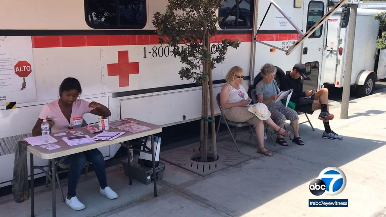 The Red Cross Bloodmobile was among the more than 50 vendors at the popular market.
