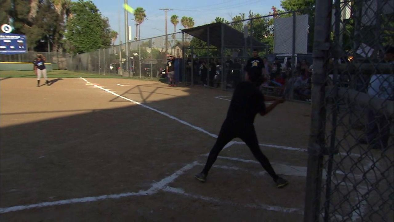 A player on an East Hollywood baseball team hits a ball as they are up to bat.