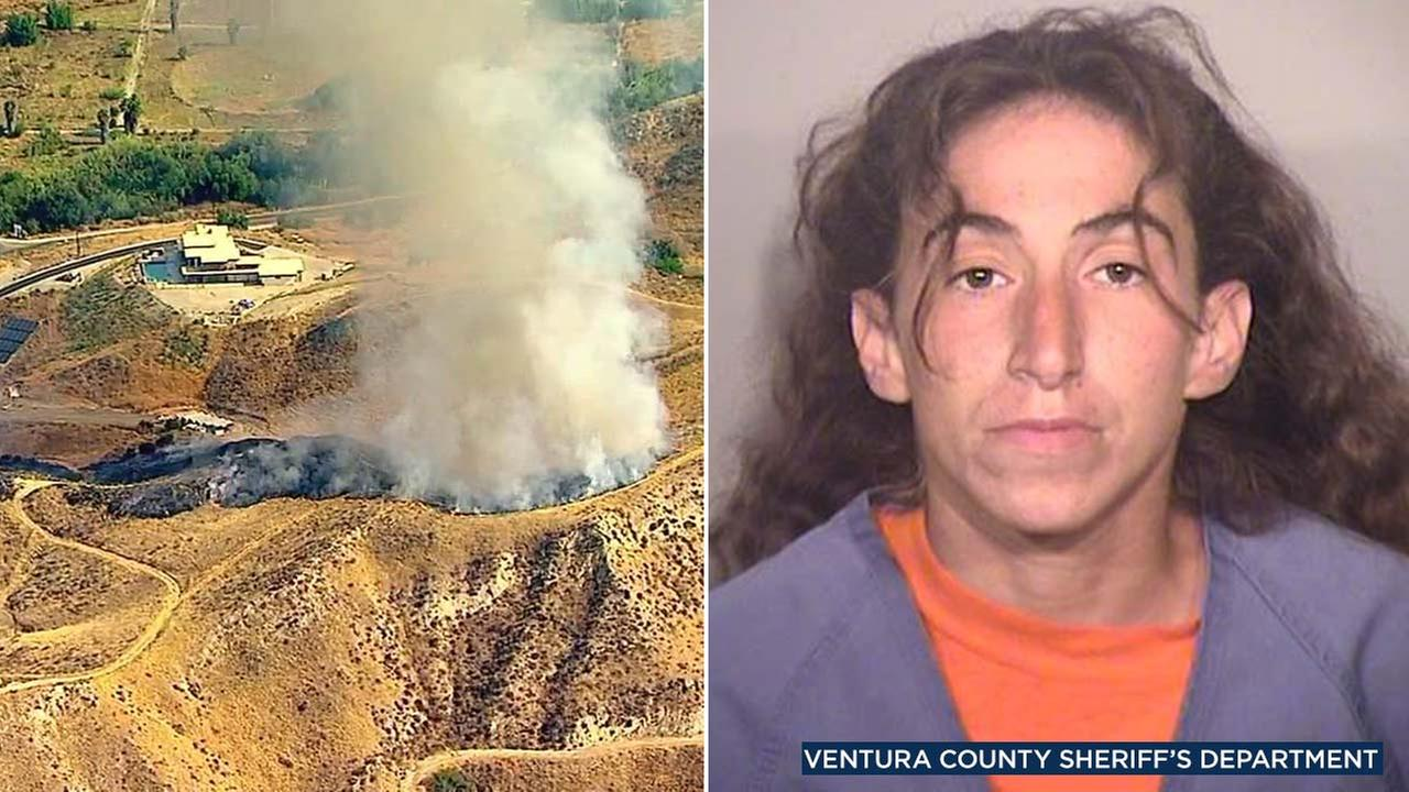 (Left) A brush fire erupted in Simi Valley on Wednesday, Aug. 1, 2018. (Right) Alexandra Gindlesberger, 33, is seen in a booking photo from the Ventura County Sheriffs Department.