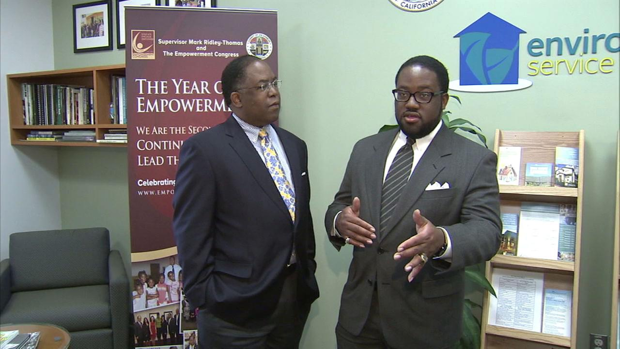 Los Angeles County Supervisor Mark Ridley-Thomas (left) made a $100,000 donation to USC that ended up with a nonprofit headed by his son Sebastian Ridley-Thomas (right).