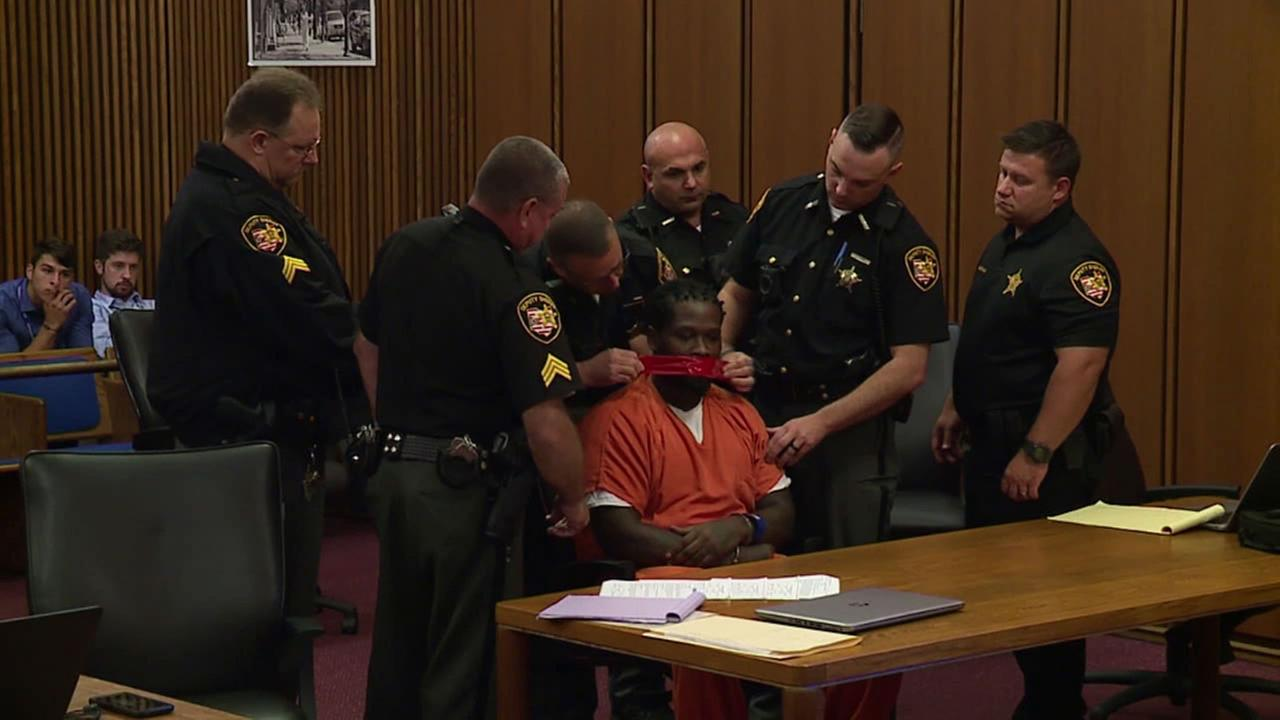 A judge in Cleveland ordered two pieces of tape to be placed over a defendants mouth because he would not stop talking during sentencing Tuesday.