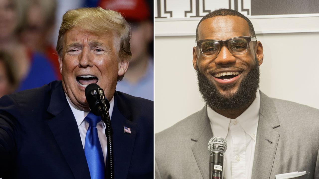 President Donald Trump is shown during a rally he held in Pennsylvania alongside an image of Le Bron James during the opening of his I Promise School in Ohio