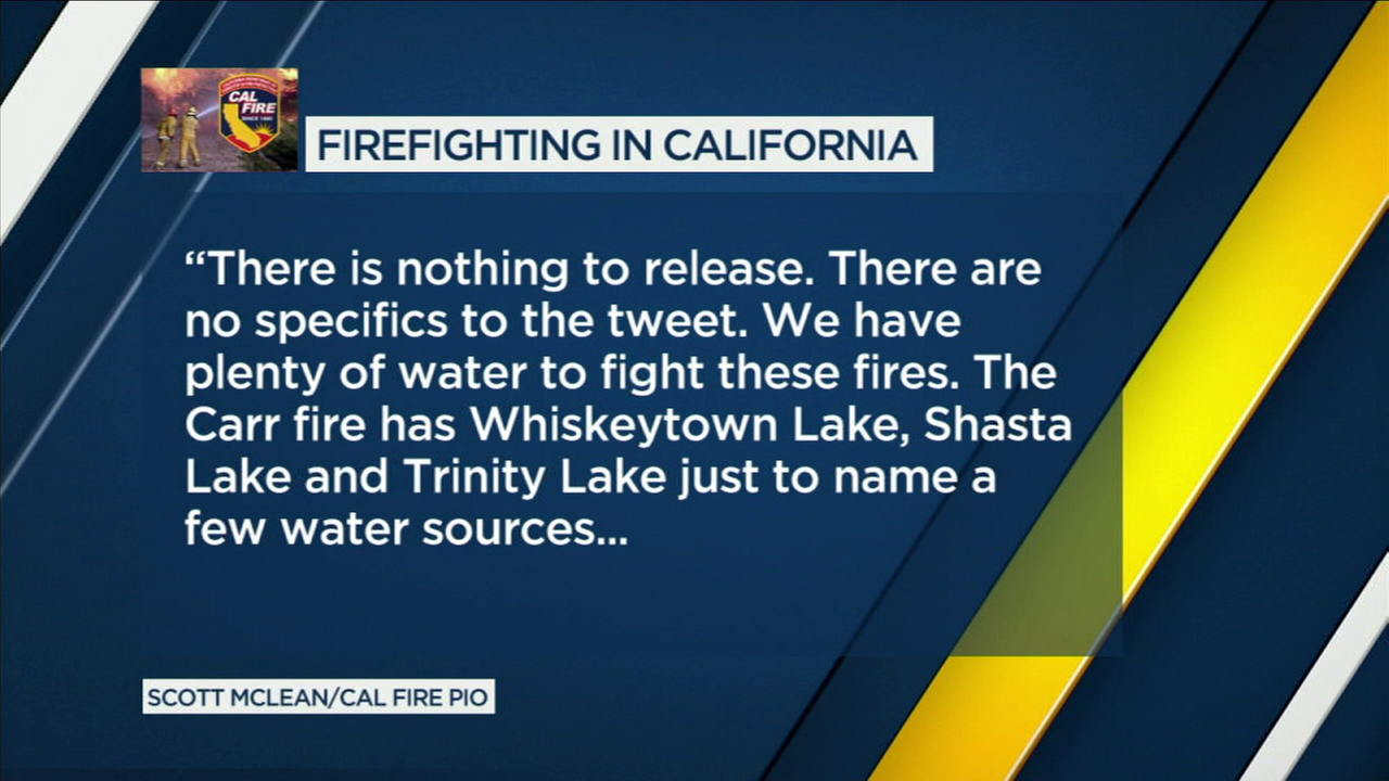Cal Fire responded to Donald Trump by saying there were no specifics to the presidents tweet about wildfires.
