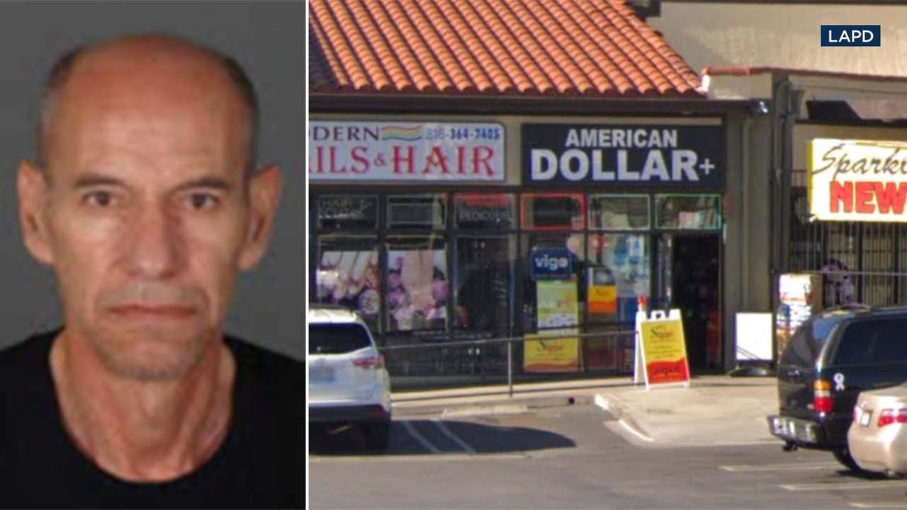 LAPD released a photo of Enrique Ramirez and the store where he worked, which is called American Dollar Plus in Sylmar.