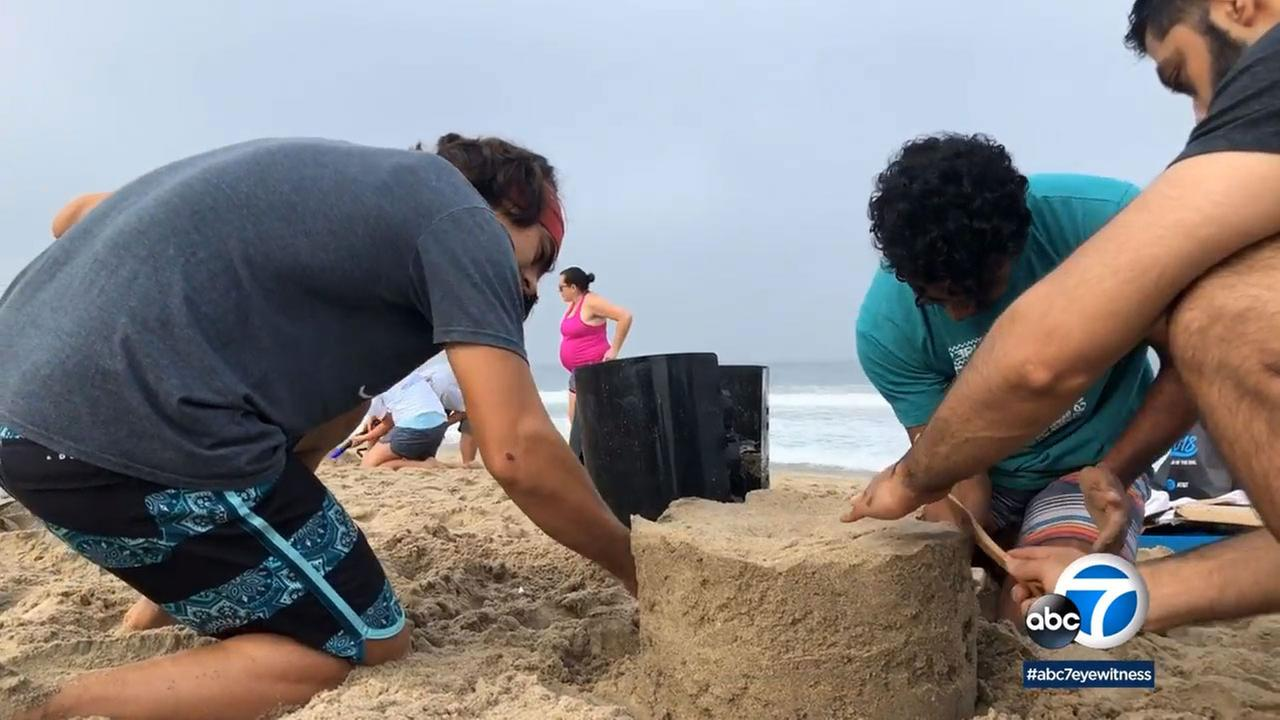 Participants competed in the International Surf Festivals sand castle design contest.