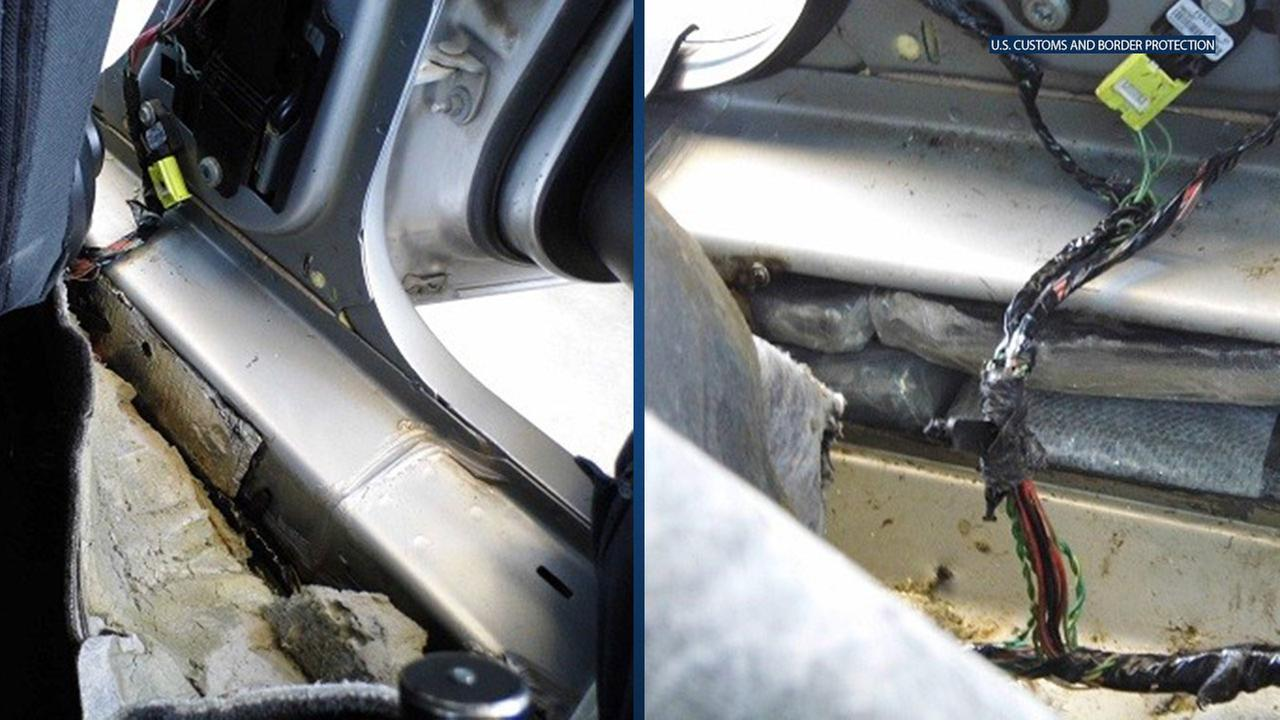 A U.S. Customs and Border Protection detector dog alerted officers to the driver-side rocker panel of the 2011 Chrysler 200 that the elderly American citizen was driving.