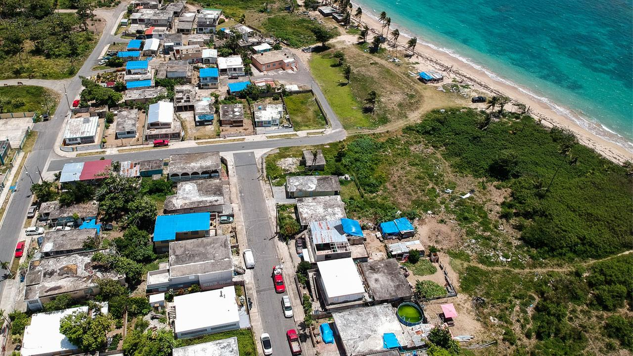 Thousands of people across Puerto Rico are still living in damaged homes, protected by blue plastic tarps, nine months since Hurricane Maria devastated the island.