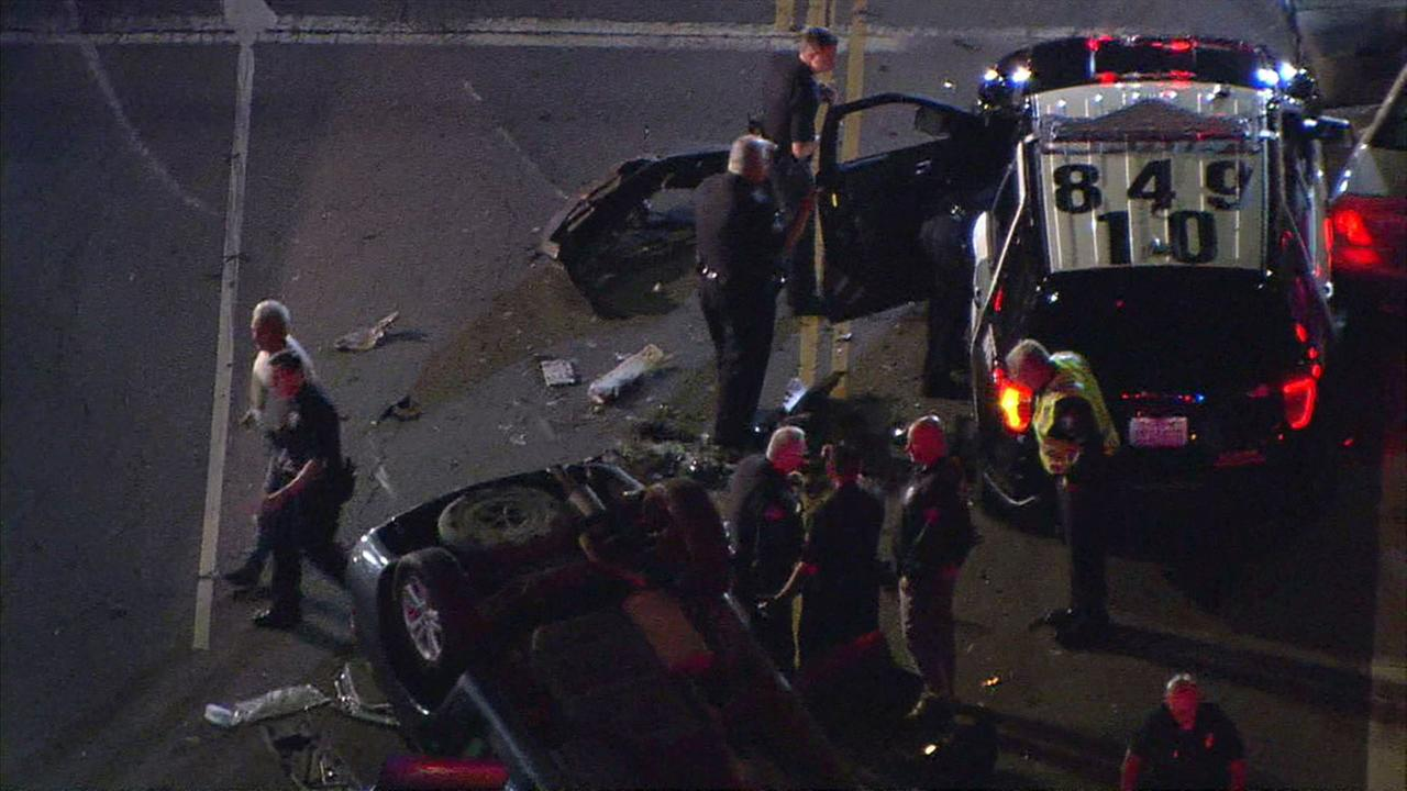 At least five people were injured in a collision that involved an LAPD cruiser and a civilian vehicle in Lake Balboa.