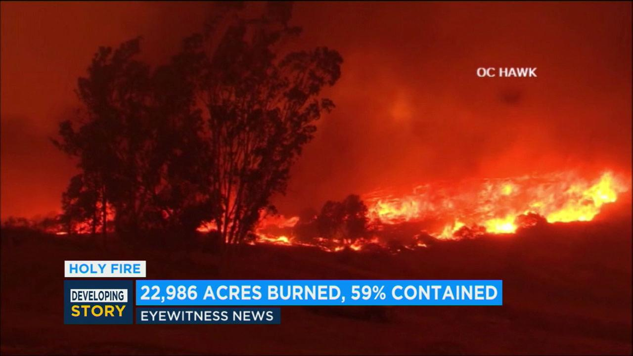Holy Fire containment rises to 59 percent; 22,986 acres burned in Lake Elsinore-Corona area