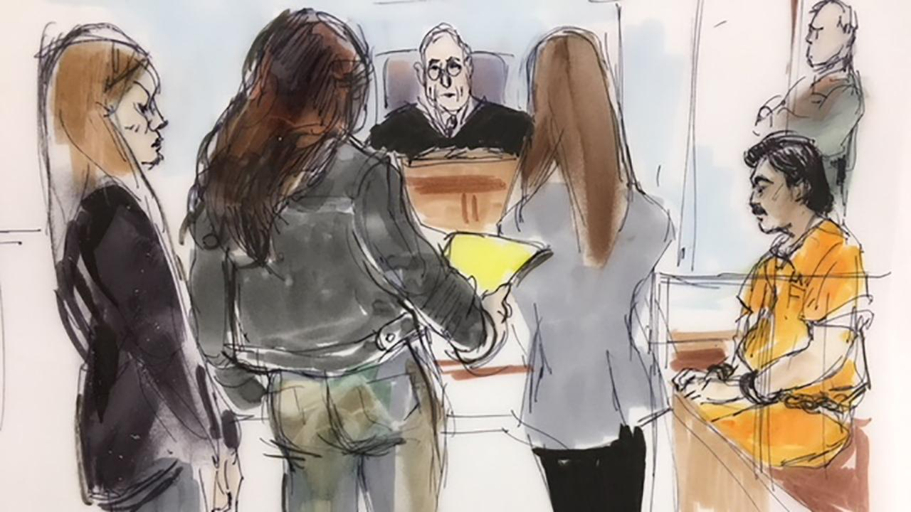 An artists sketch shows former Los Angeles Police Department Officer Robert Cain, seated at right, in court on Wednesday, Aug. 15, 2018.