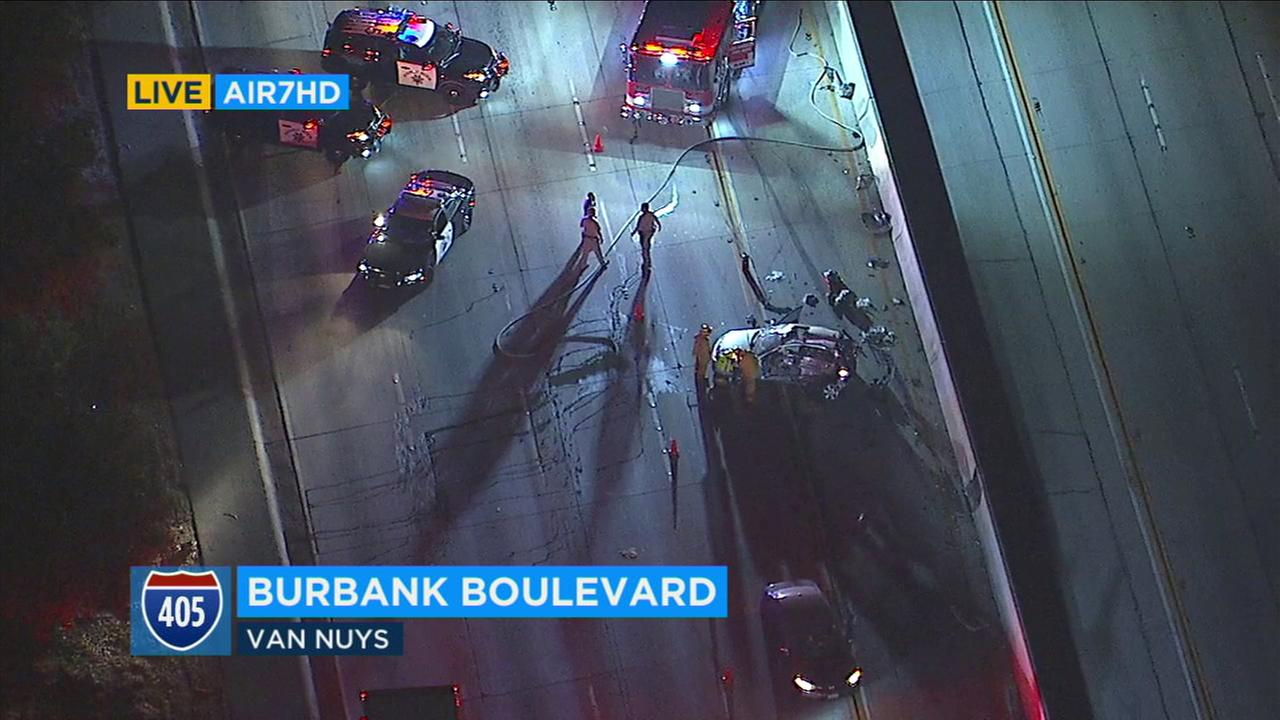 A violent crash on the 405 Freeway in Van Nuys left at least one person in critical condition and prompted the Highway Patrol to shut down all southbound lanes at the scene.