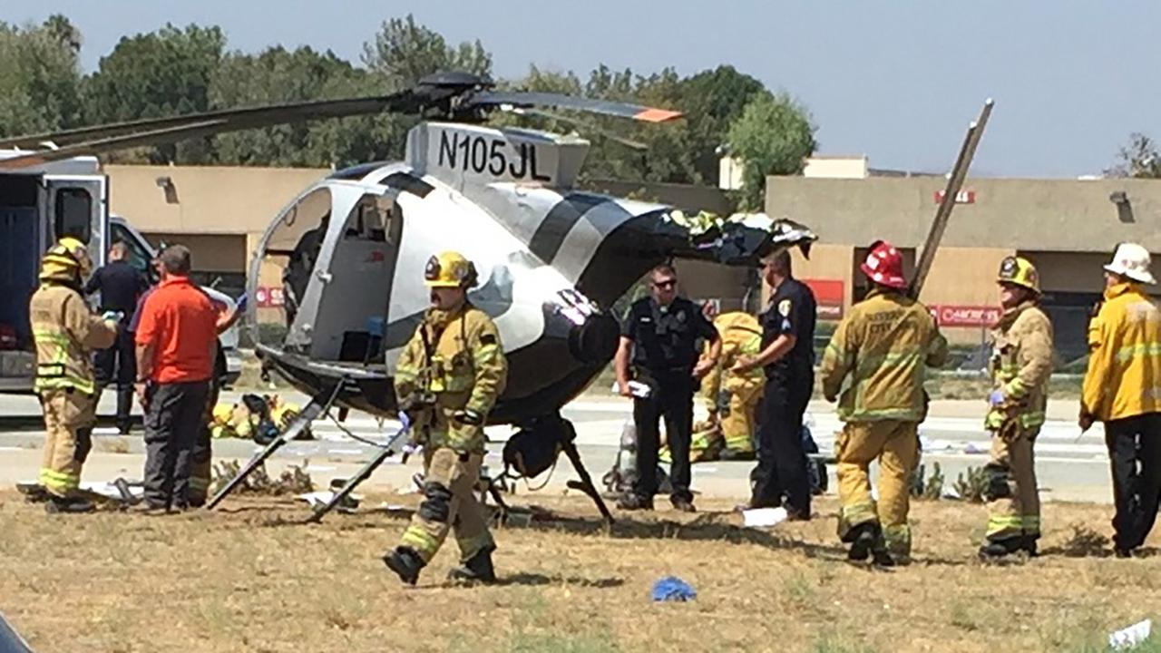 One person was hospitalized Friday, Aug. 17, 2018, after a helicopter crashed at Riverside Municipal Airport, officials said.