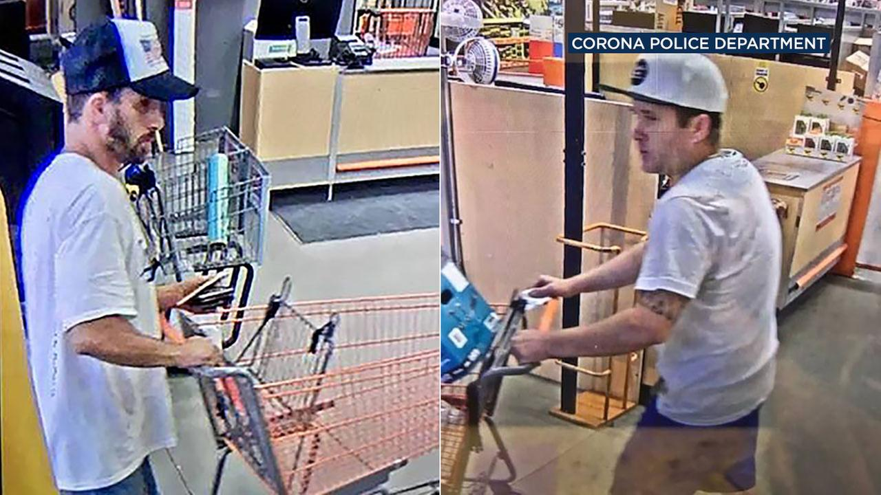 Police are asking for the publics help to identify two suspects alleged to have used stolen credit cards to make purchases at Home Depot and Lowes in Corona.