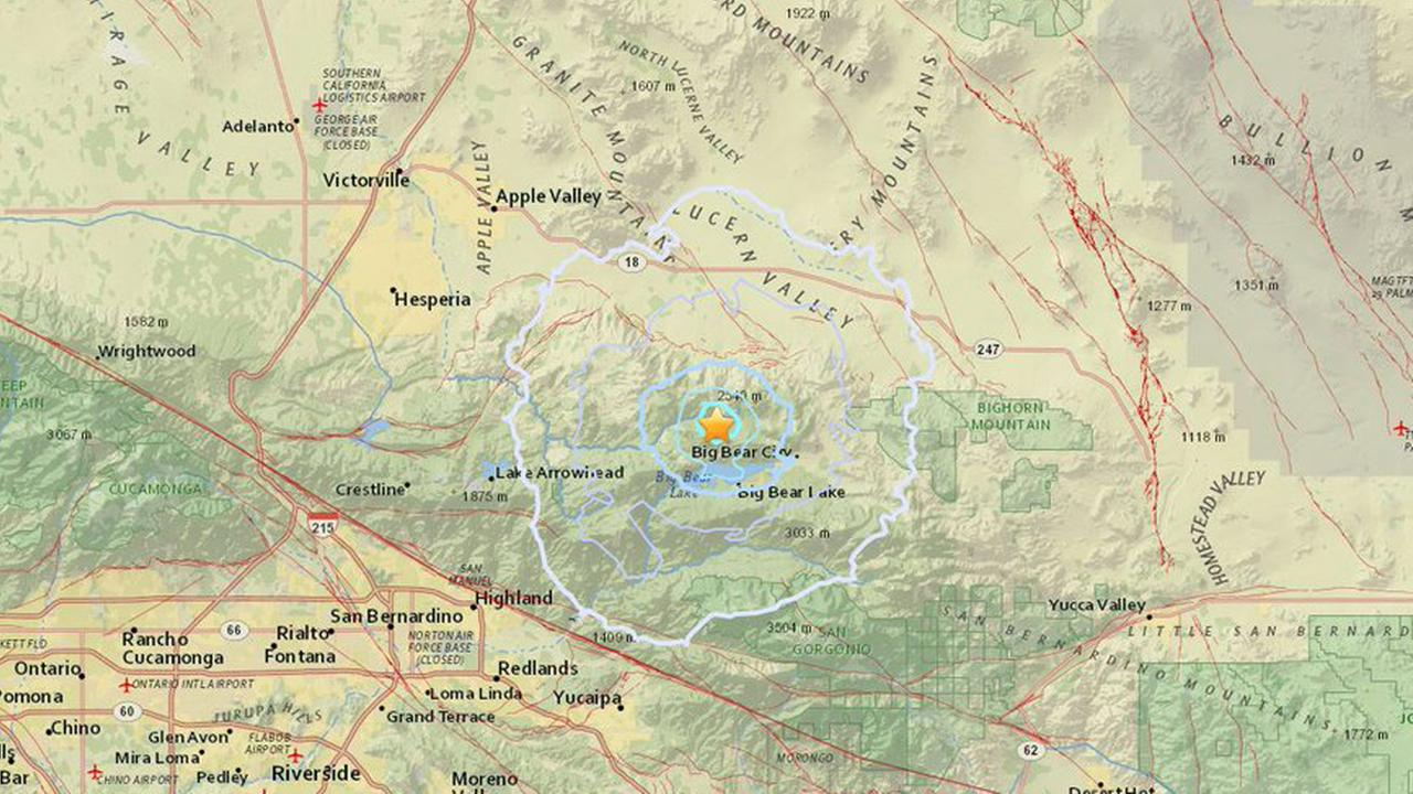 A preliminary-magnitude 3.2 earthquake struck about 6 miles north-northwest of Big Bear Lake on Saturday, Aug. 18, 2018, according to the U.S. Geological Survey.