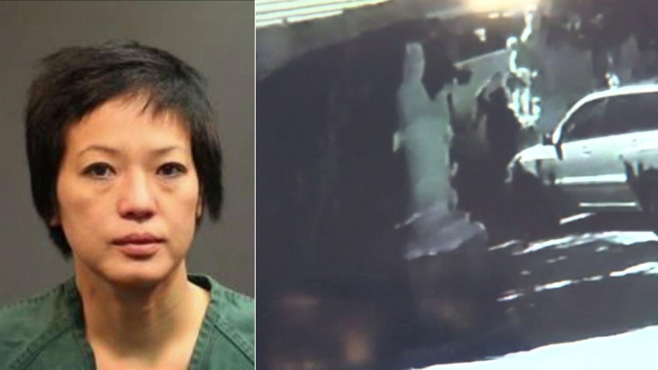 Trang Pham is shown in a previous mugshot alongside surveillance video of a woman vandalizing Buddha statues at a temple in Santa Ana.