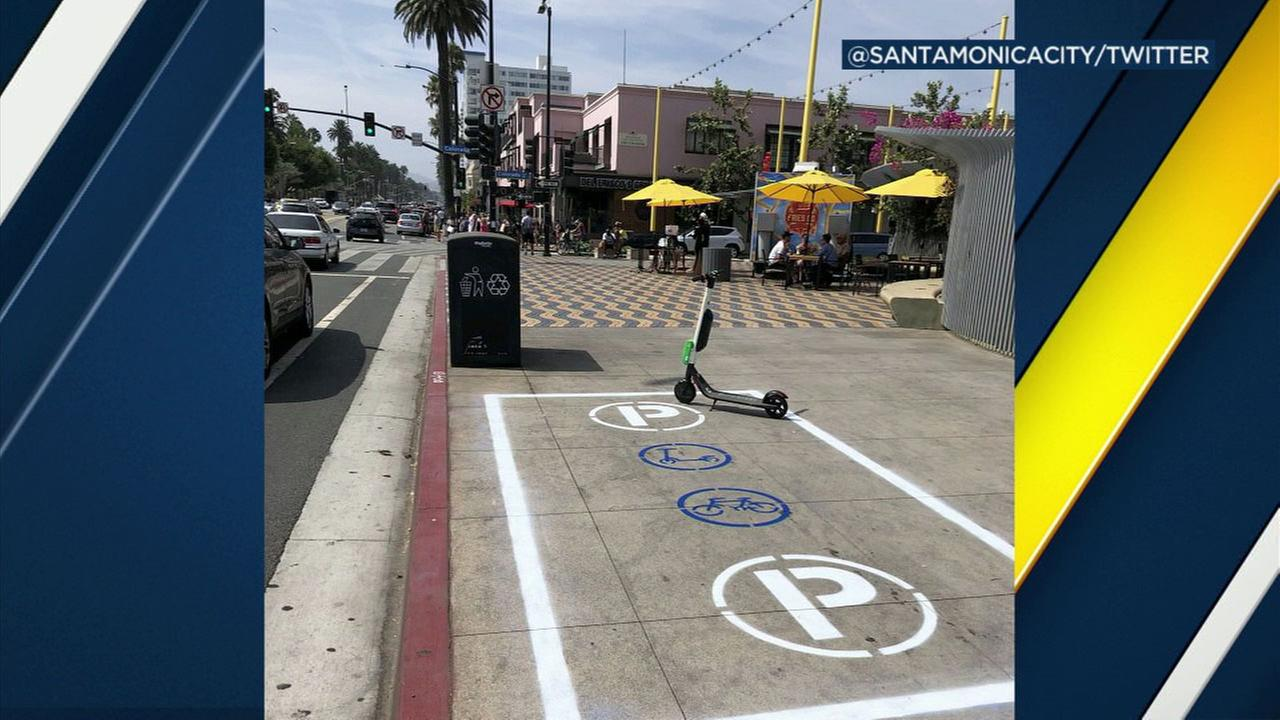 The city of Santa Monica is launching a pilot program for scooter parking.