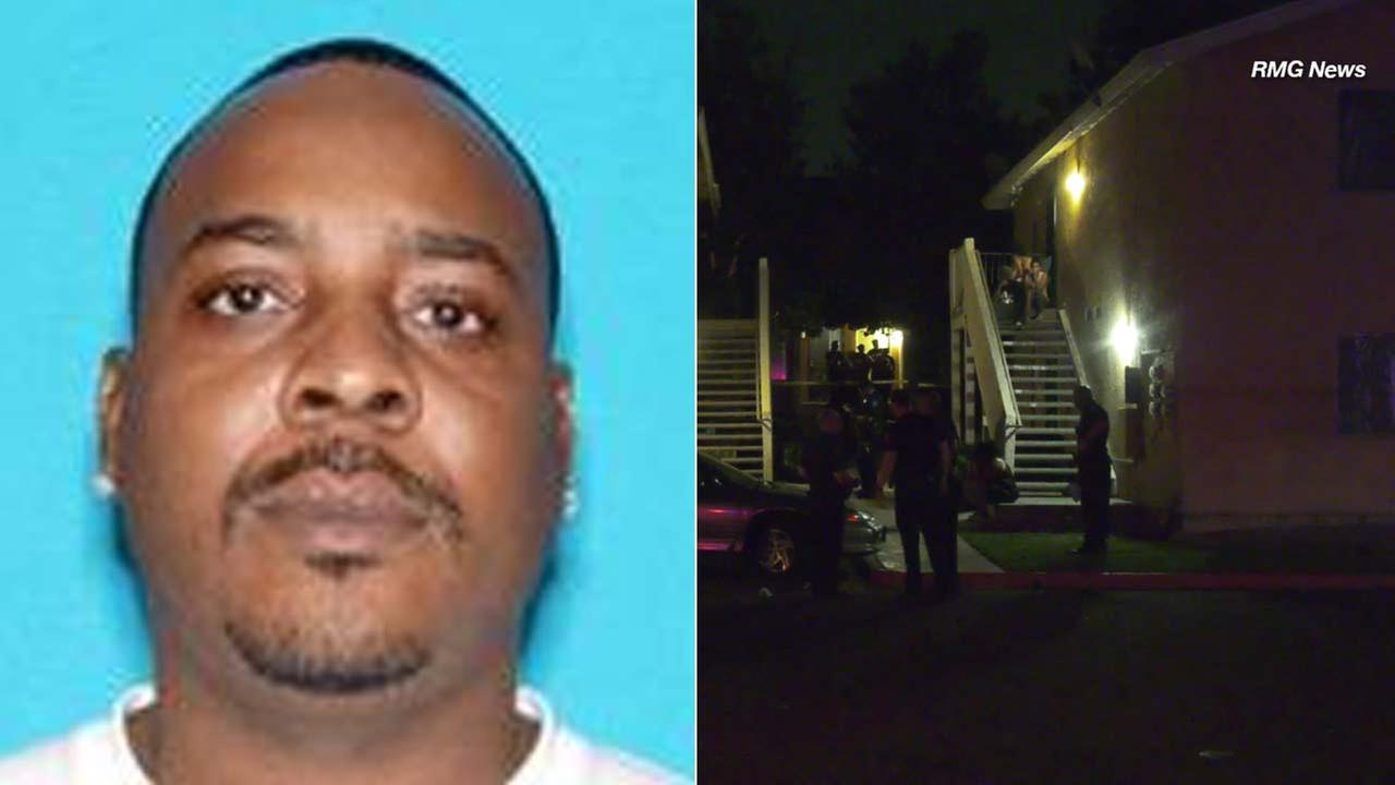 (Left) Teron Marshall, 40, of Washington, is seen in a photo provided by San Bernardino police. (Right) Law enforcement officials investigate the scene of a fatal shooting.