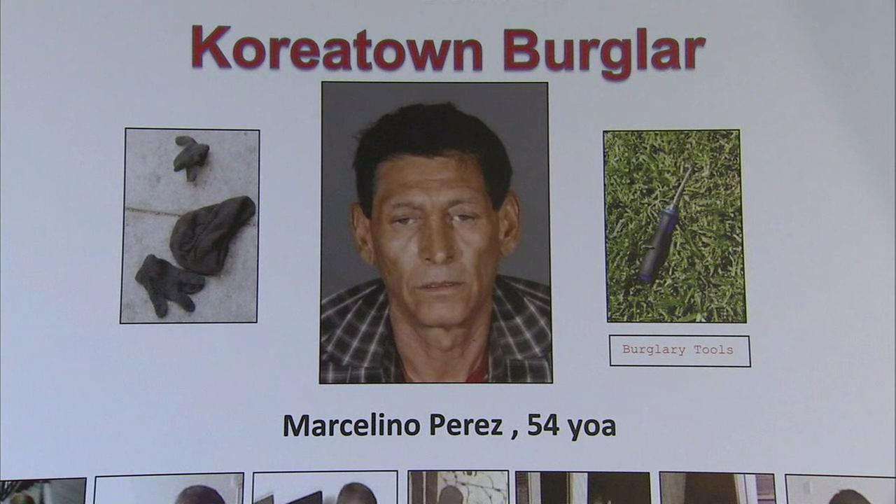 Police say Marcelino Perez is responsible for 21 burglaries in the Koreatown area.