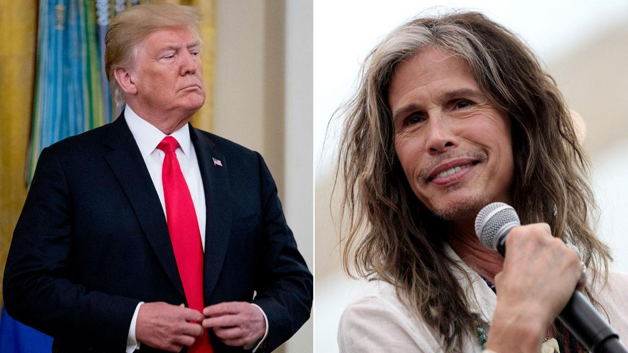 Photos of President Donald Trump and Aerosmith lead singer Steven Tyler are shown in AP file photos.