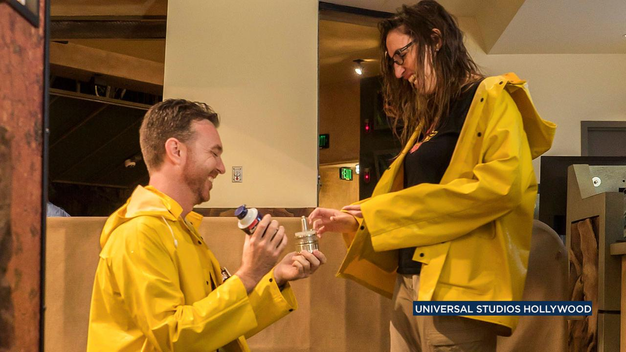 Devin and Chelsea of Los Angeles got engaged after riding the Jurassic Park ride at Universal Studios for a record-breaking 13 hours.