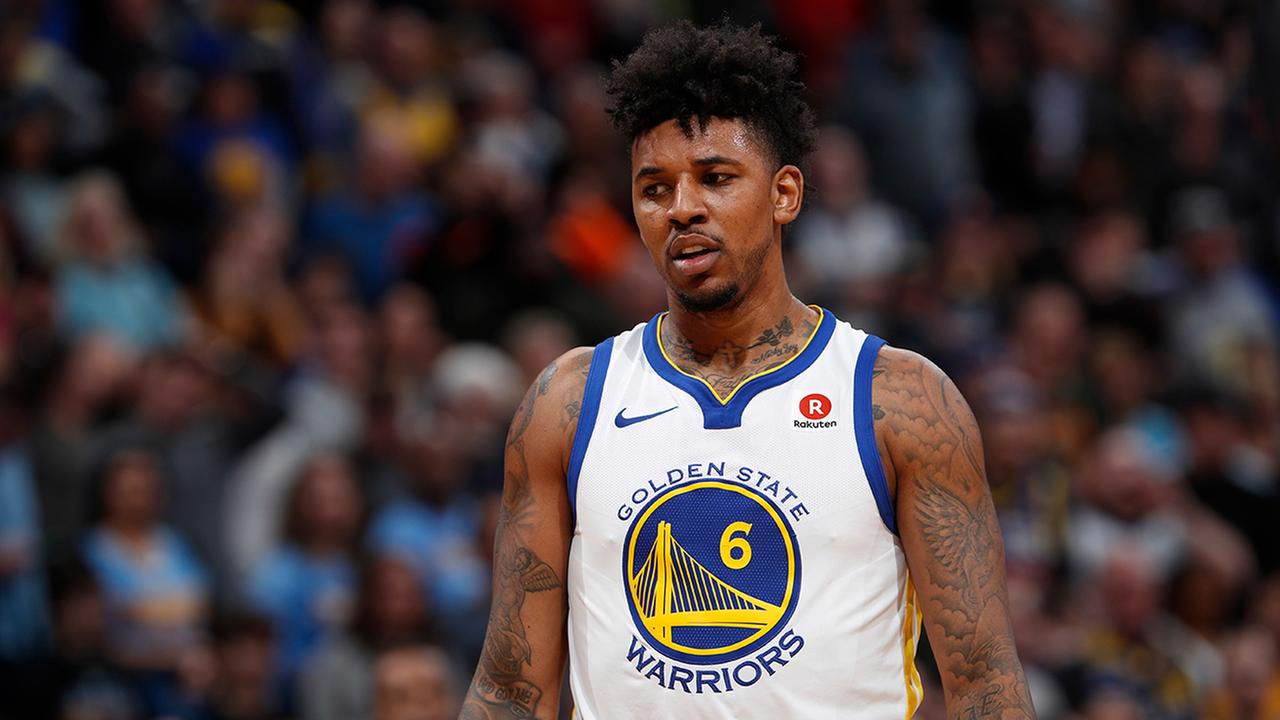 Golden State Warriors guard Nick Young (6) in the second half of an NBA basketball game Saturday, Feb. 3, 2018, in Denver. The Nuggets won 115-108.