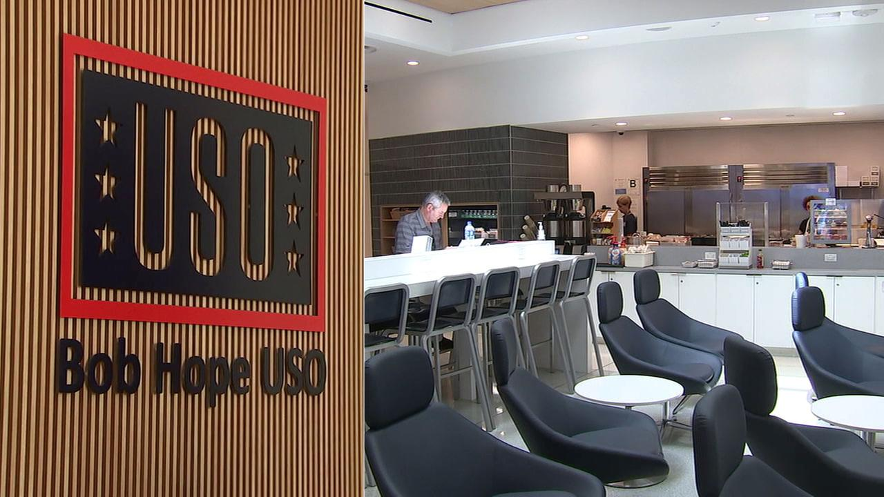 The new Bob Hope USO at LAX offers members of the military and their families a place to relax while traveling through the busy airport.
