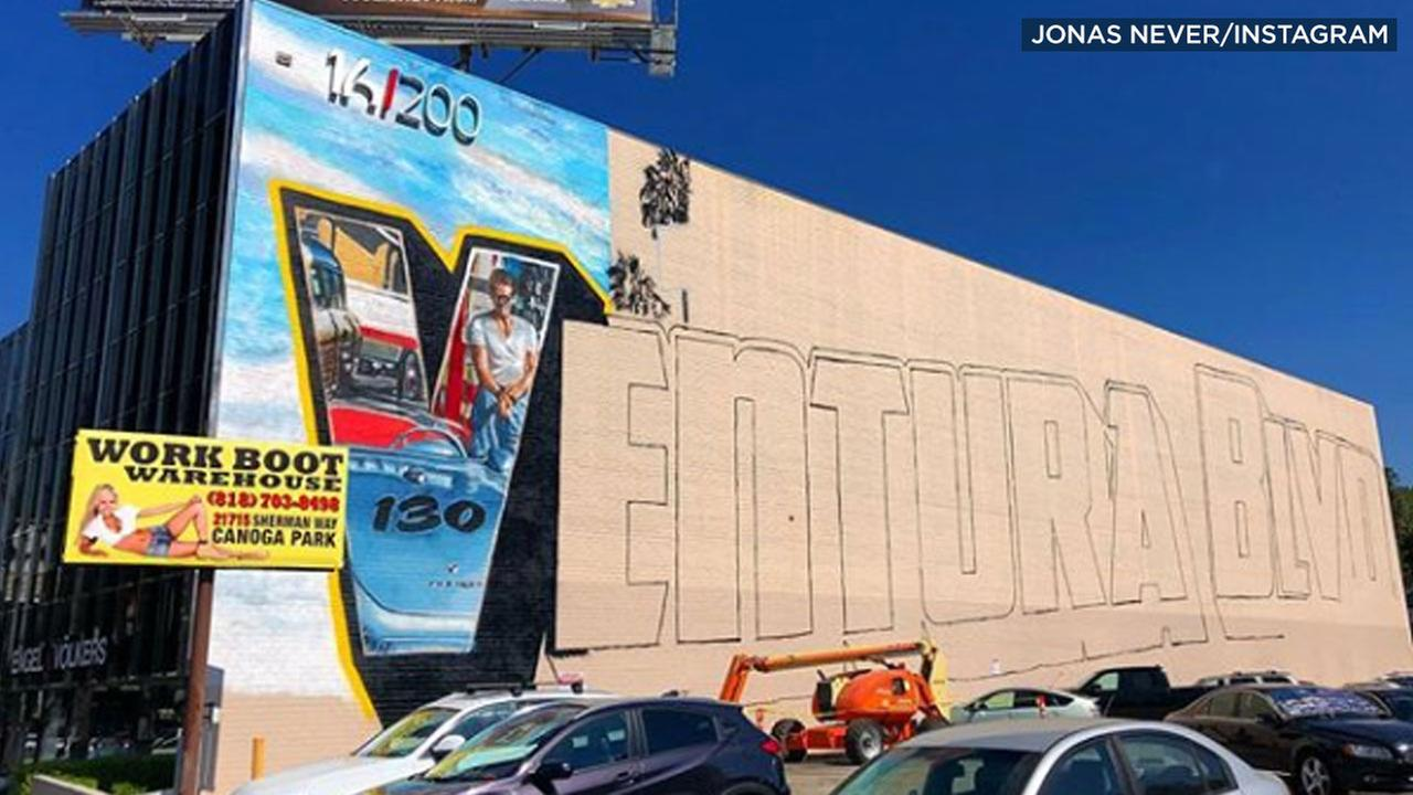 An unfinished mural taking up the side of a building in Encino is shown in a photo taken by artist Jonas Never.