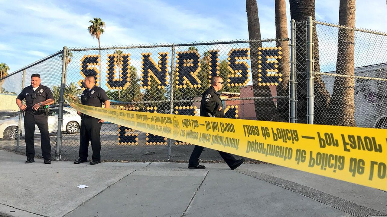 Crime scene tape is seen following the shooting of a woman in Boyle Heights near Sunrise Elementary.