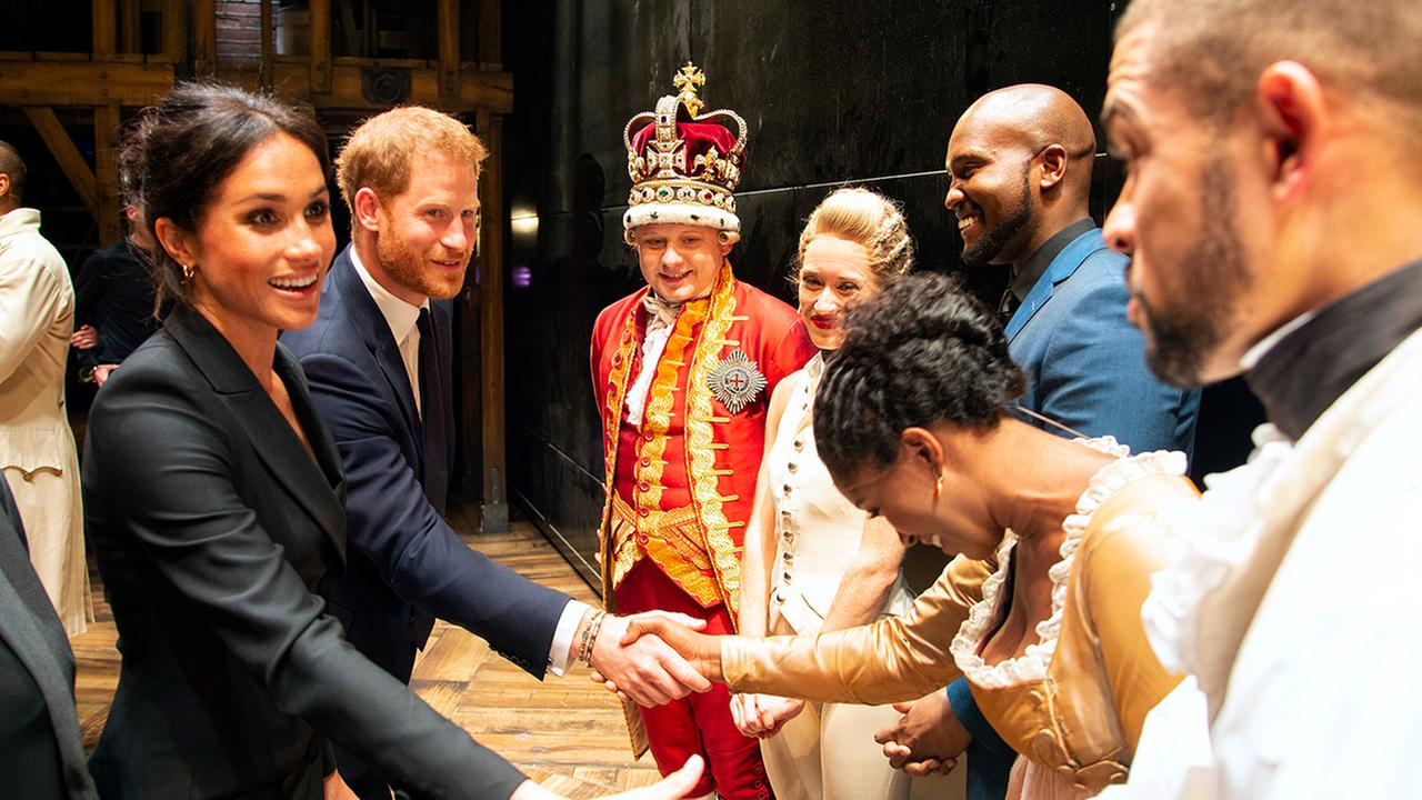 Britains Prince Harry and Meghan, Duchess of Sussex meet the cast after a performance of the musical Hamilton at the Victoria Palace Theatre in London, Wednesday, Aug. 29 2018.