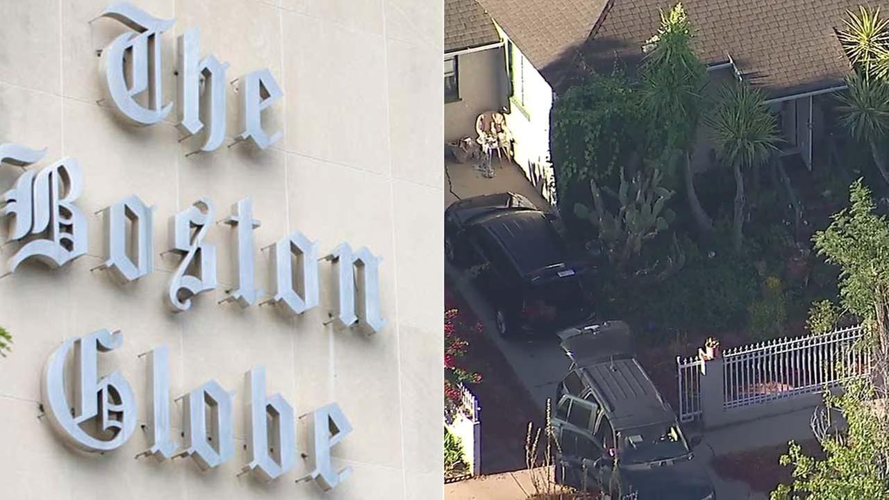 (Left) AP photo of The Boston Globe building in Boston. (Right) Cars are seen parked at an Encino home belonging to a man arrested for allegedly making threats against the Globe.