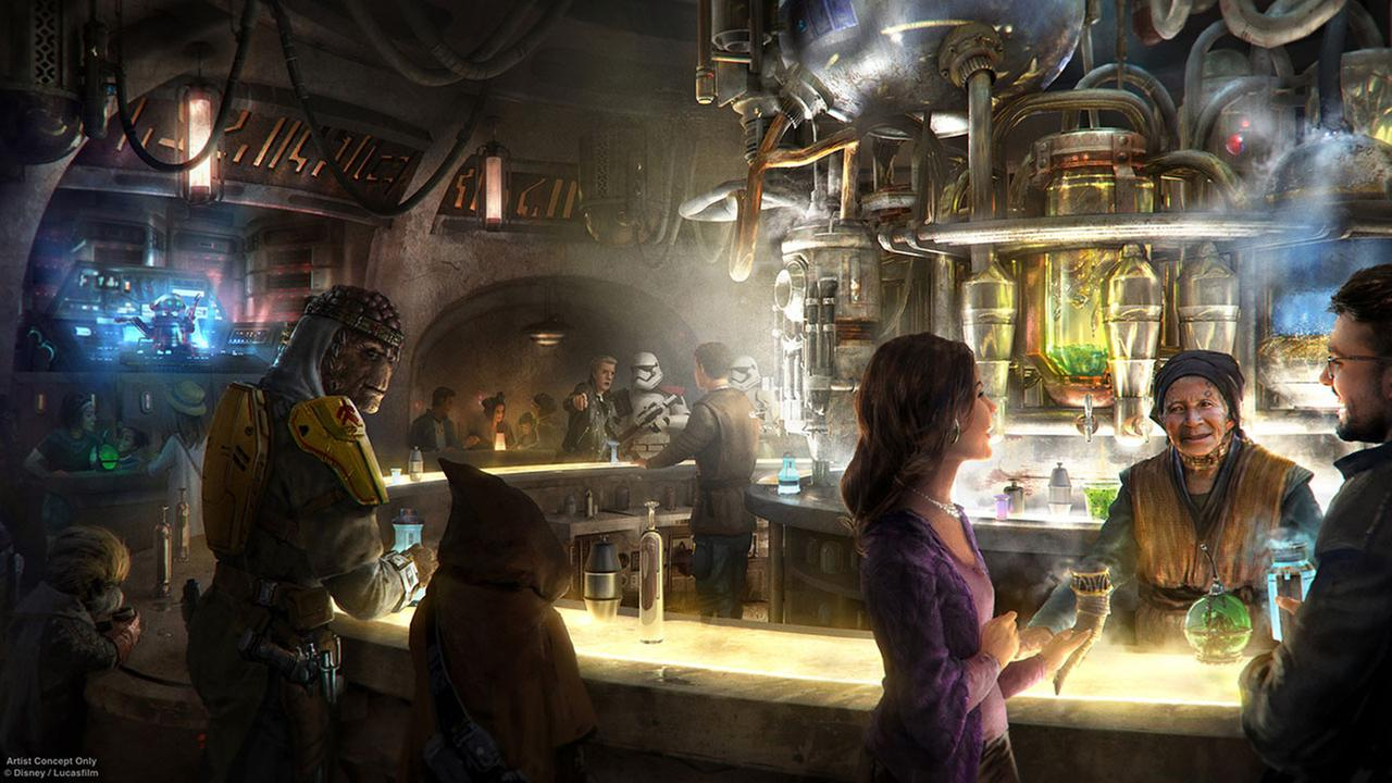 A conceptual rendering of the interior of Ogas Cantina shows all sorts of characters at the alien-friendly bar planned for Star Wars: Galaxys Edge.