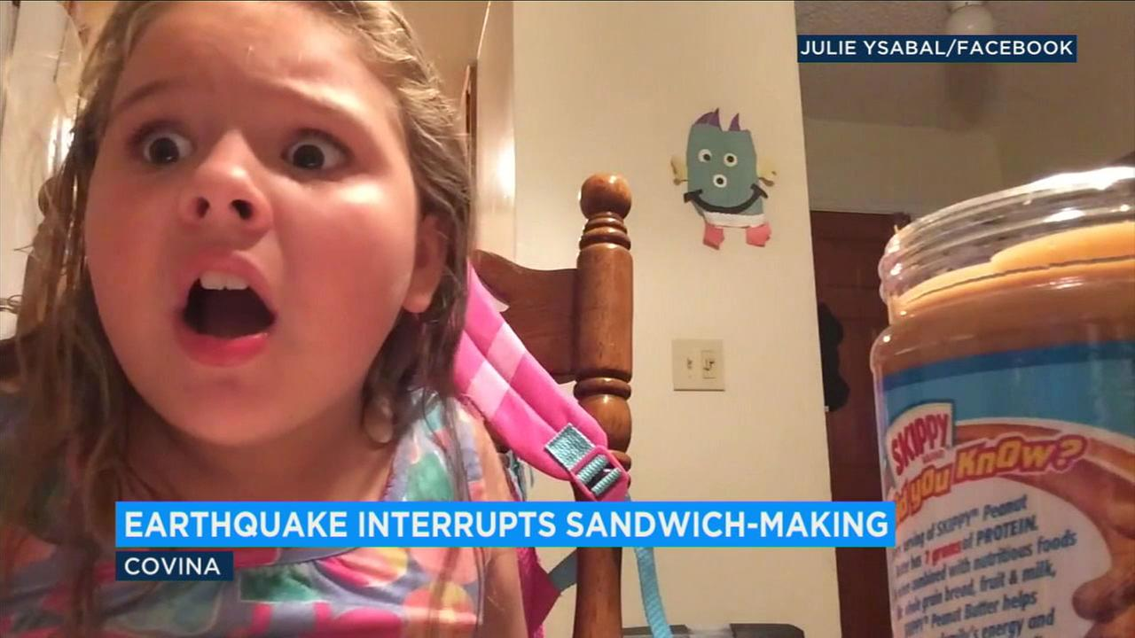 Avas mom recorded the 7-year-olds reaction to her first earthquake.