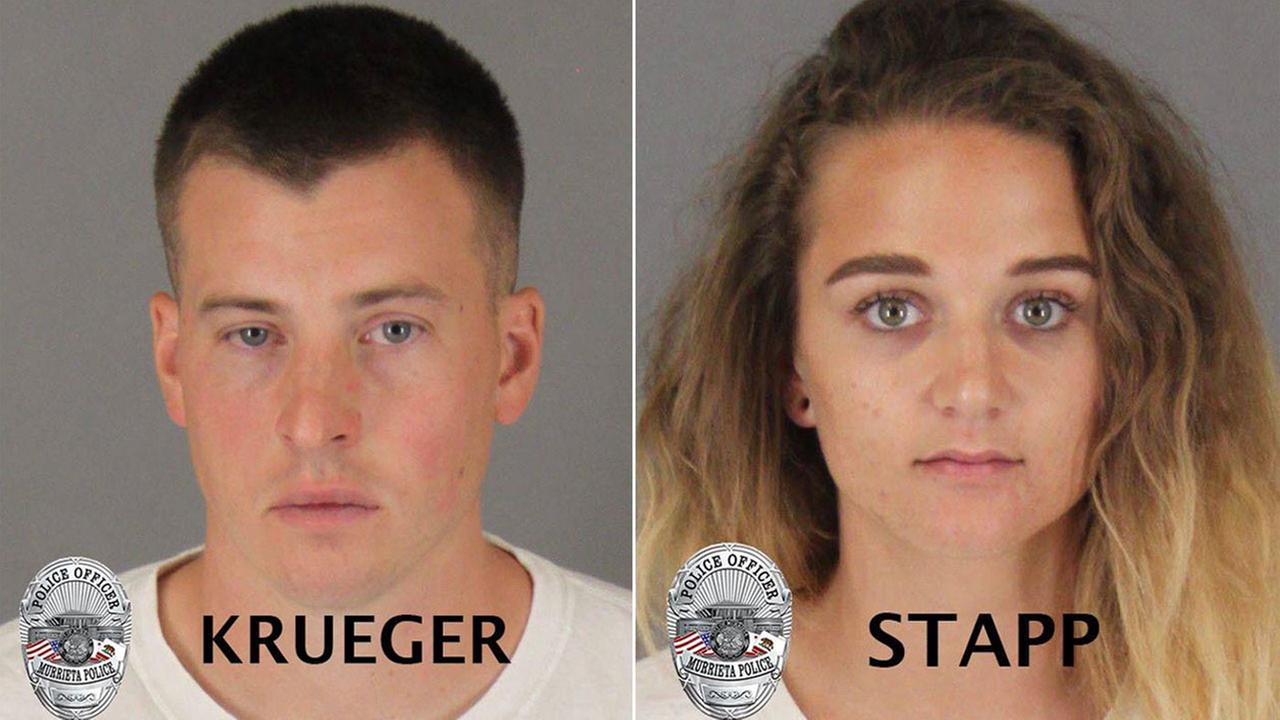 Photos of 30-year-old Curtis Krueger and 27-year-old Ashlie Stapp, who were arrested in connection with the death of 54-year-old Henry Stange.