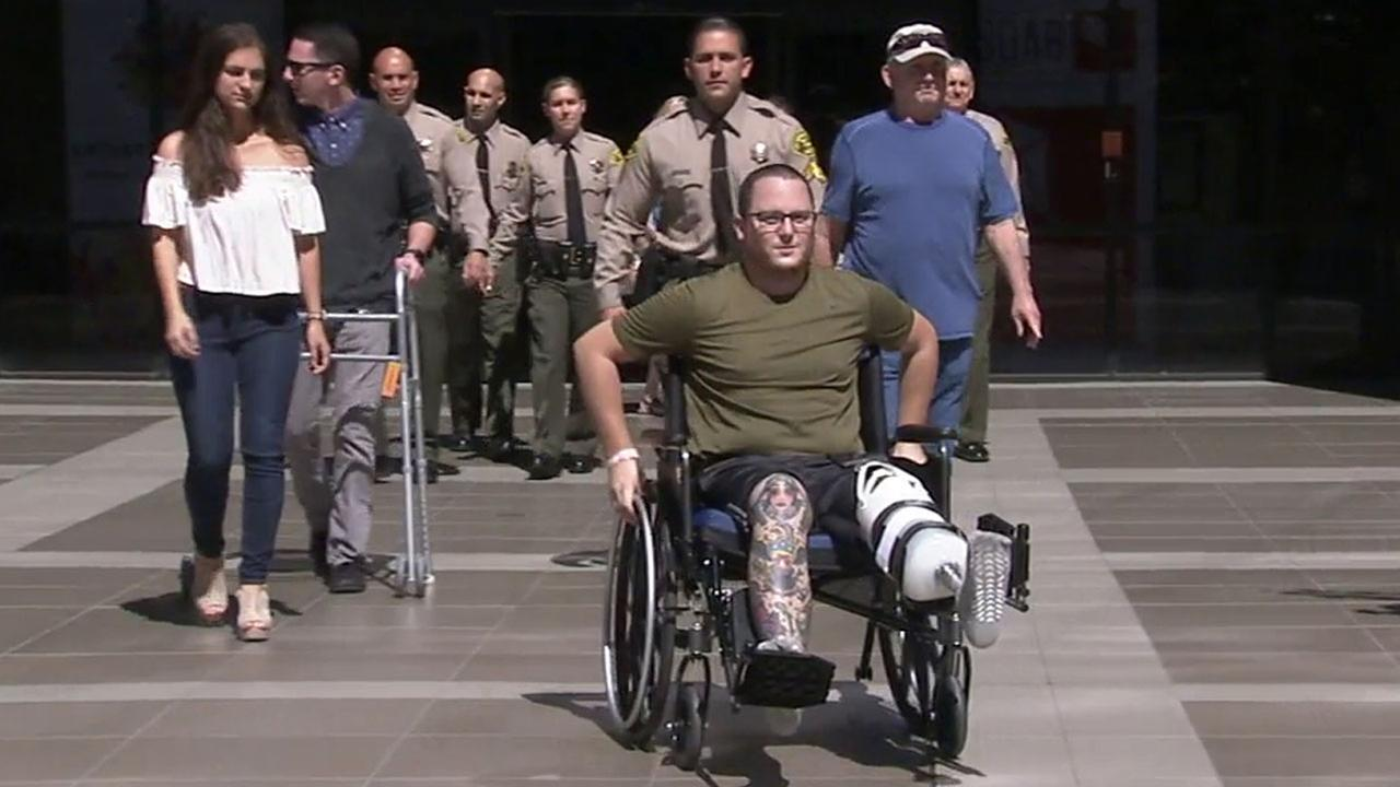 Sheriffs Deputy Garrett Rifkin lost his leg in a hit-and-run accident but he is hoping to complete rehab and go back to work next year.