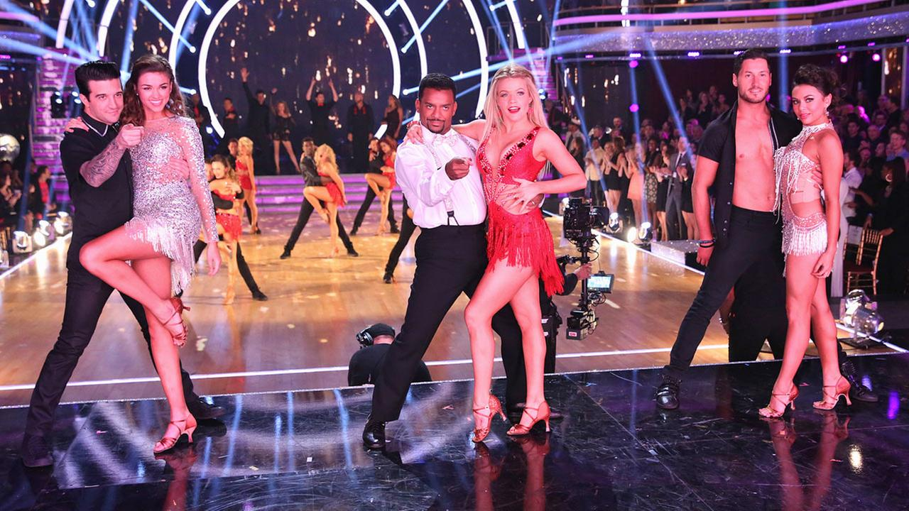 Finalists on Dancing With The Stars Mark Ballas, Sadie Robertson, Alfonso Ribeiro, Witney Carson, Valentin Chmerkovskiy and Janel Parrish (from left to right) pose for a photo.