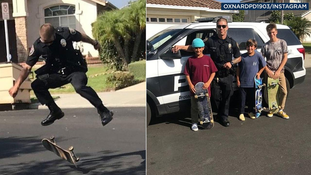 Officer Hames shows off some moves in front of a kids who were skateboarding in a neighborhood over the Labor Day weekend.