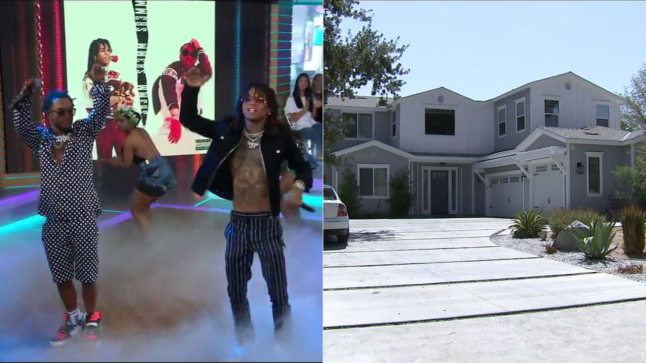 A side-by-side images shows the rap duo Rae Sremmurd and their rented home in Woodland Hills.