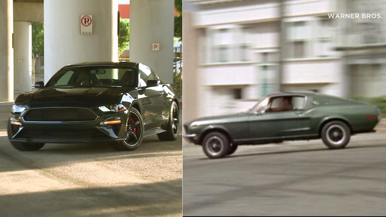 The new Ford Mustang (left) pays tribute to the car driven by Steven McQueen in the 1968 film Bullitt.