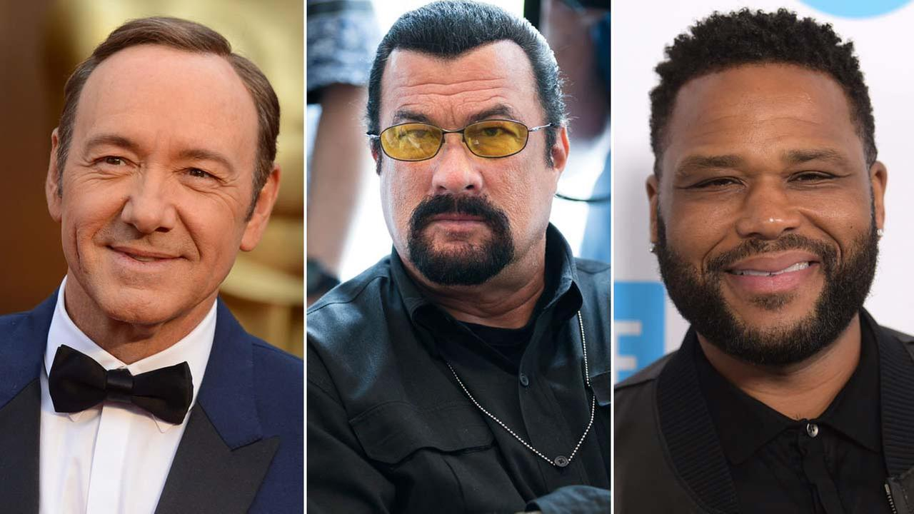 Kevin Spacey, Steven Seagal and Anthony Anderson are seen in file photos.
