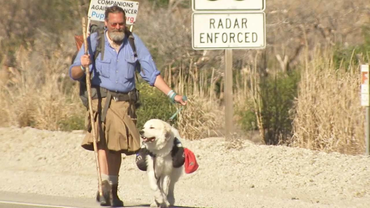 Luke Robinson and his dog Indiana set out to walk 1,800 miles from northern Washington to the Mexico border to raise awareness for canine cancer.