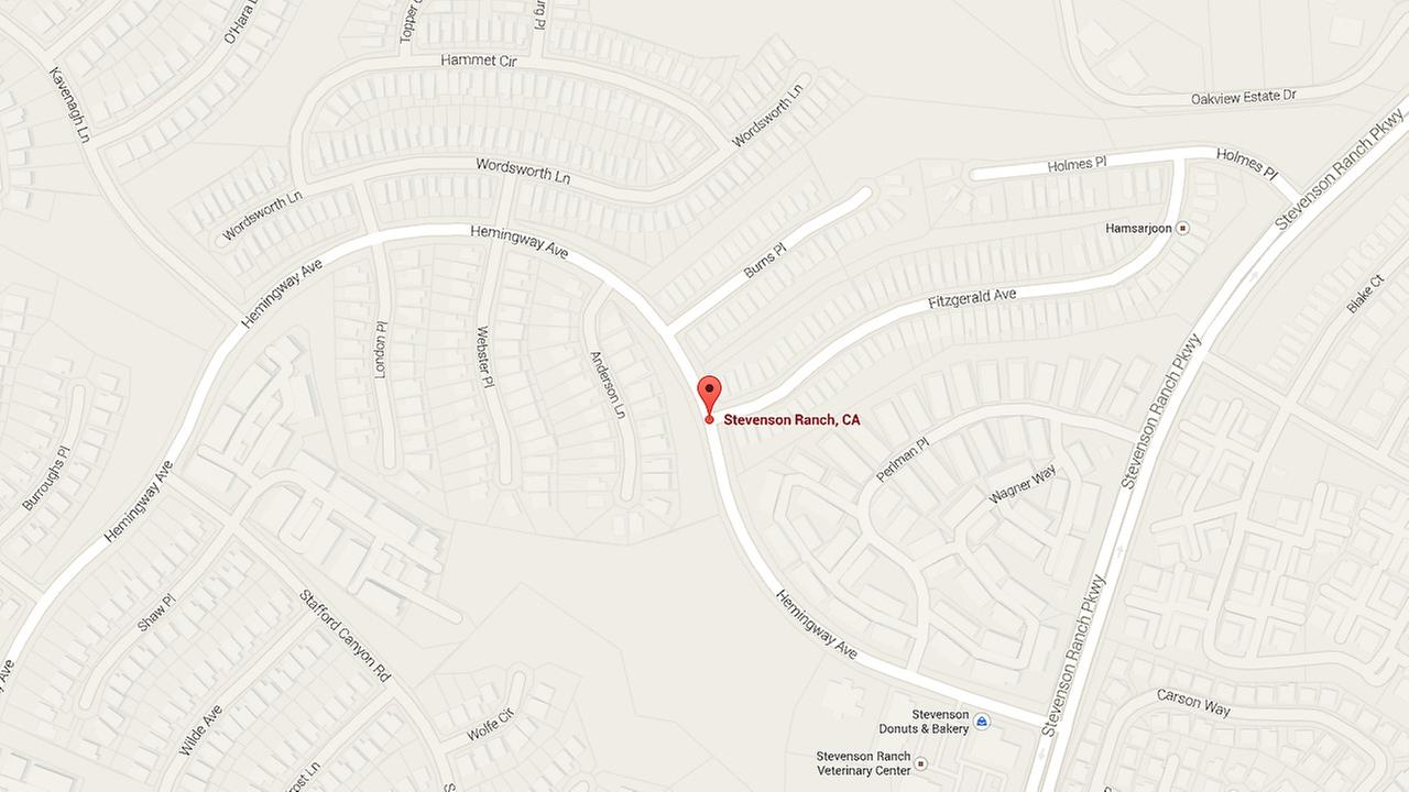 A map shows Fitzgerald and Hemmingway avenues in Stevenson Ranch where a dispute took place between two sisters on Saturday, Nov. 29, 2014.