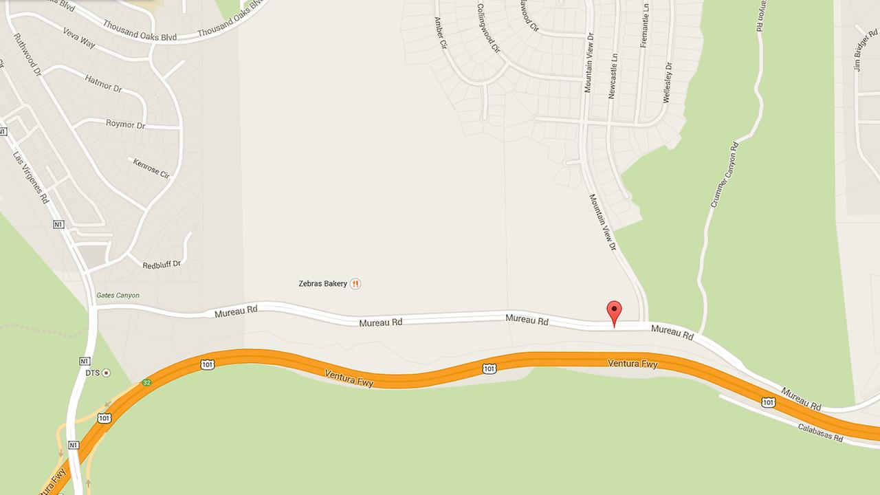A map shows Mureau Road east of Las Virgenes Road, where a Ferrari crashed on Friday, Nov. 28, 2014.