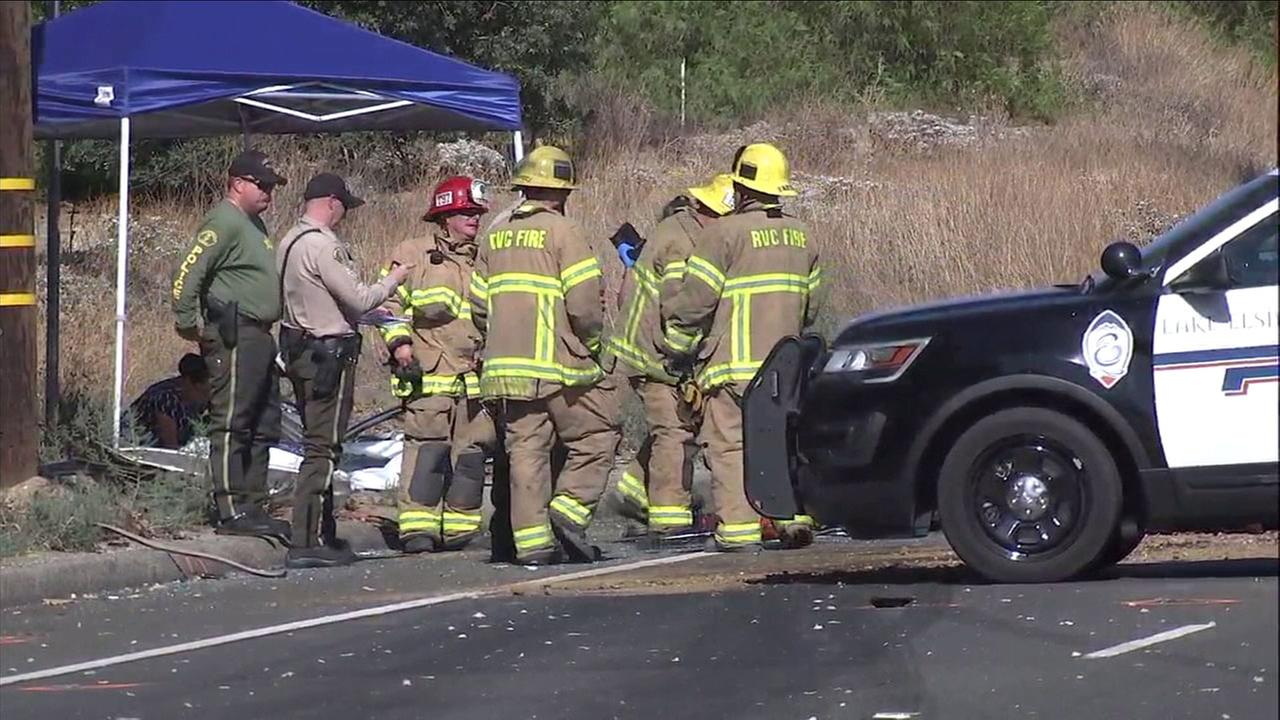 Three people are dead following a crash involving two vehicles on Highway 74 in Lake Elsinore, authorities said.